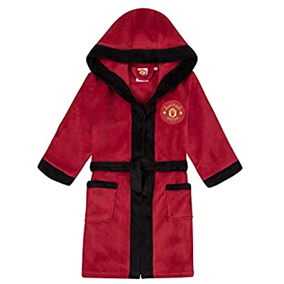 Manchester United FC Official Gift Boys Fleece Dressing Gown Robe Red 7-8 Years