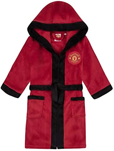 Manchester United FC Official Gift Boys Fleece Dressing Gown Robe Red 7 8 Years product image