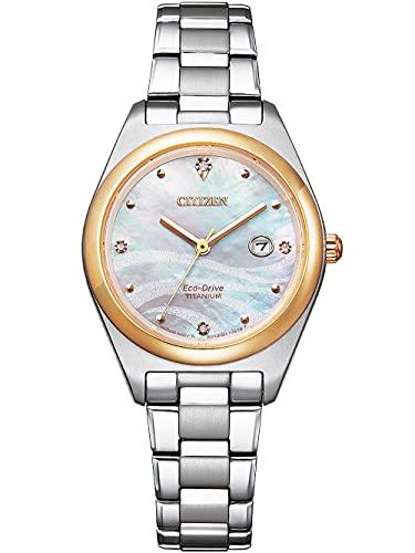 Citizen Eco-Drive EW2606-87Y - Reloj de pulsera para mujer (titanio, bicolor)