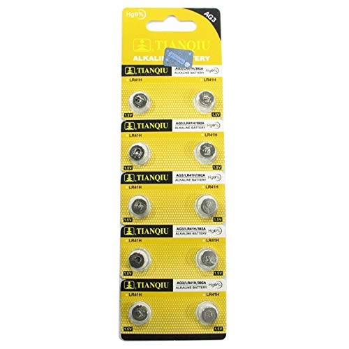 10 Tianqiu AG3 / LR41 / 192/392 Button Cell 1.5V Battery Long Shelf Life 0% Mercury (Expire Date Marked)