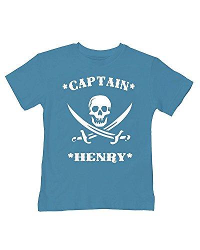 Ice-Tees T-shirt personnalisé Captain Pirate - Turquoise - 2-3 ans