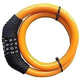 Lucchetto Cavo per Biciclette, Hannuo sicurezza serratura a combinazione cavo ritorto metallo 4 Cifra 2 piedi x 1/2-inch biciclette triciclo scooter con il sacchetto libero, Orange