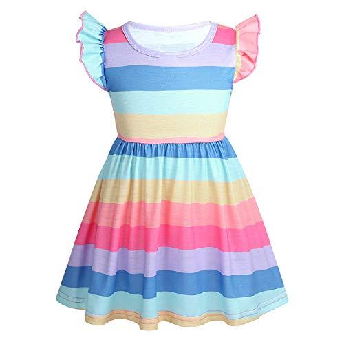 JEATHA Kleinkind Mädchen Regenbogen Sommerkleider Prinzessin Kleid Streifen Rüschen Nachthemd Nachtwäsche Gr. 68-98 Bunt A 92-98