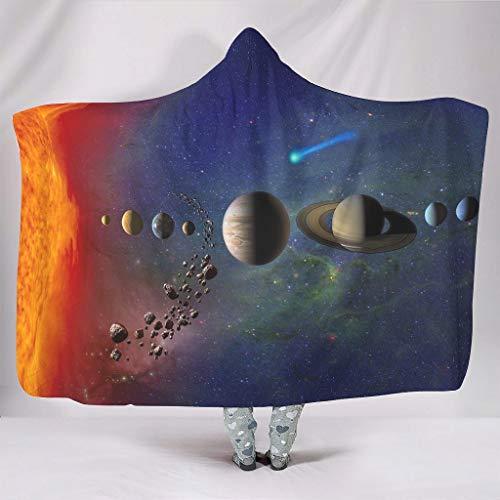 Super zacht met capuchon plafond fantasie zonnesysteem zonneplaneten ruimte kunstwerk druk warm winter fleece premium omhang van de waaier knuffelen bank beddengoed