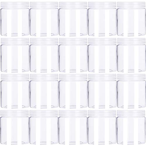 20 Pack 4oz Round Plastic Jars with Lids Empty Clear Slime Containers,Wide-Mouth Refillable Storage Containers for Cosmetics,Lotion,Food Storage