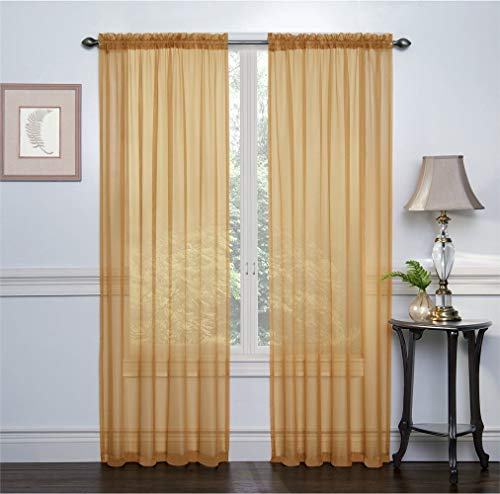 GoodGram 2 Pack: Basic Rod Pocket Sheer Voile Window Curtain Panels - Assorted Colors & Sizes (Gold, 84 in. Long Pair)