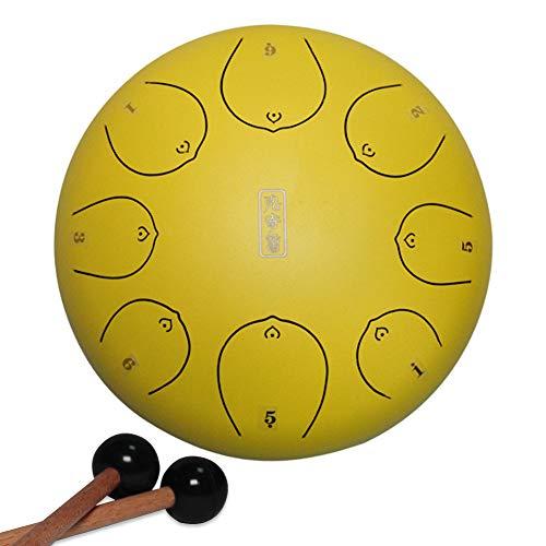 8 Notas 12 Pulgadas Tambor de Lengua de Acero | Lotus Handpan Drum | Steel Tongue Drum | con Mazos Tambor para Meditación/Yoga/Zen/Concierto | Instrumento de Percusión