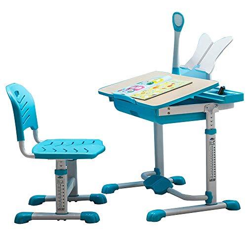 Home Beistelltische Tisch Kinder Schreibtisch Set Höhenverstellbarer Kinderarbeitsplatz Kinderarbeitsplatz und Aktivität mit Verstellbarem Stuhl Robust Langlebig, BOSS LV, Blau