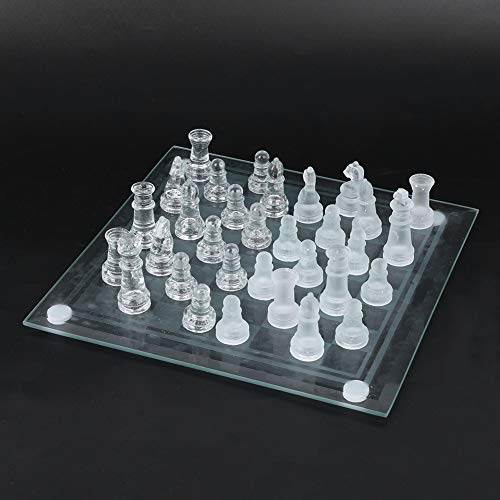 Dilwe Ajedrez de Cristal, 20x20cm 32 Piezas de ajedrez Cristal Esmerilado Ajedrez...