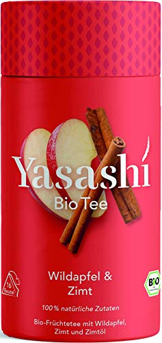 Yasashi Bio Tee | Bio Früchtetee Wildapfel. Zimt und Zimtöl | Süß und würzig | 100% natürliche Zutaten | 100% Bio Qualität | 100% recyclefähige Verpackung | 16 Pyramidenbeutel x 2,5g