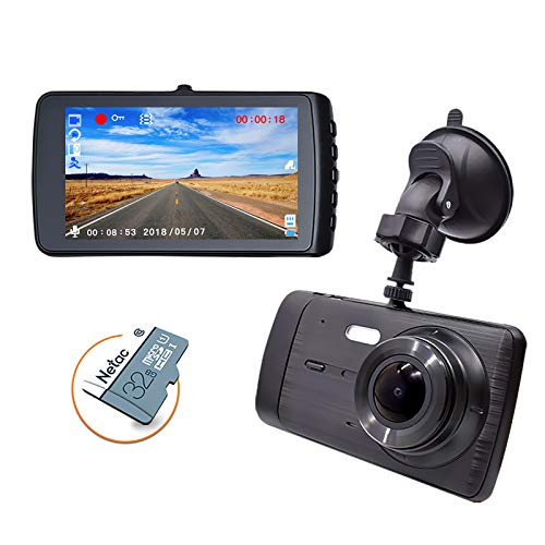 """Dash Cam 1296P Car Driving Recorder Camera, 4"""" IPS, with 32GB Card, 170° Wide Angle, G-Sensor, WDR, Loop Recording, Screen Protector, Parking Monitoring, Motion Detection, Night Vision"""