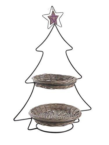 PEGANE Présentoir en métal laqué avec 2 corbeilles en Osier Gris, 45 x 28 x 63 cm