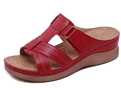 CELANDA Sandales Mode Femme Bout Ouvert Compensées plateforme Pantoufles Premium Orthopédiques Sandales Vintage Confortables Chaussons de Plage d'été Rouge Taille:36 EU