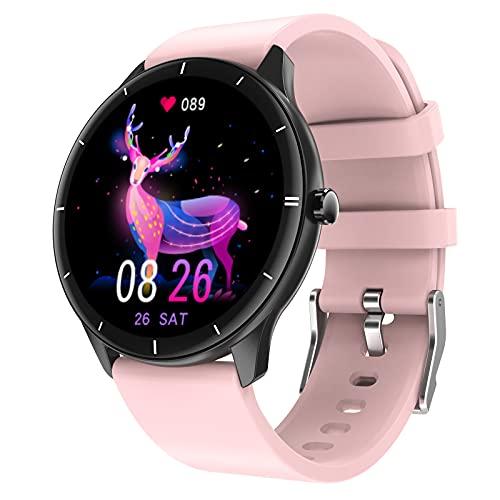 QFSLR Smartwatch,Reloj Inteligente con Pulsómetro, Monitoreo De Temperatura De Reloj Inteligente Monitor De Presión Arterial Monitoreo De Oxígeno En Sangre para Android iOS,Rosado