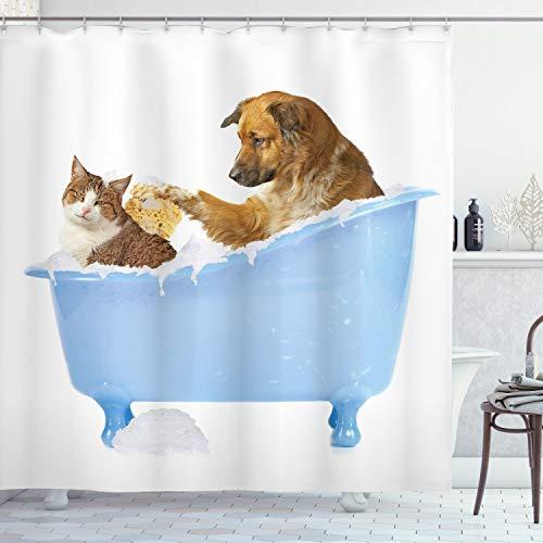 ABAKUHAUS Duschvorhang, H& & Katze in der Badewanne Zusammen mit Bubbles Shampoo mit Duschspaß Kunst Druck, Blickdicht aus Stoff inkl. 12 Ringen Umweltfre&lich Waschbar, 175 X 200 cm