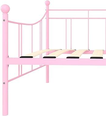 HUANGDANSP Cadre de lit de Repos Rose Métal 90 x 200 cm Meubles Lits Accessoires Lits Cadres de lit