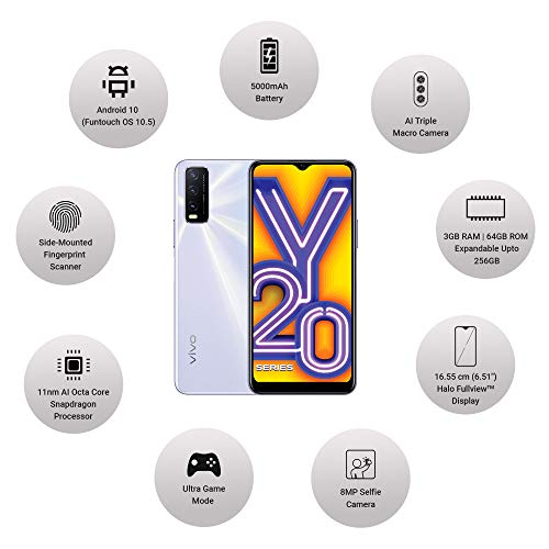 Vivo Y20i (Dawn White, 3GB RAM, 64GB Storage) with No Cost EMI/Additional Exchange Offers