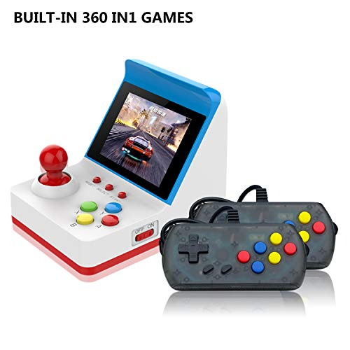 BAORUITENG Handheld Game Console, Retro FC Game Console,Video Game Console 2PCS USB Joystick + 3 Inch 360 Classic Games for Kids (Red)
