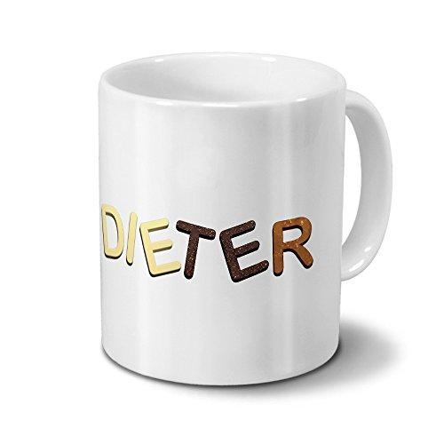Tasse mit Namen Dieter - Motiv Schokoladenbuchstaben - Namenstasse, Kaffeebecher, Mug, Becher, Kaffeetasse - Farbe Weiß