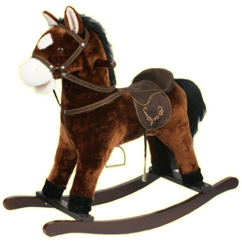 Guaranteed4Less Rocking Horse Kids Toy Play Pony Moving Mouth Sounds Children Boys Girls Rocker (Dark Brown)