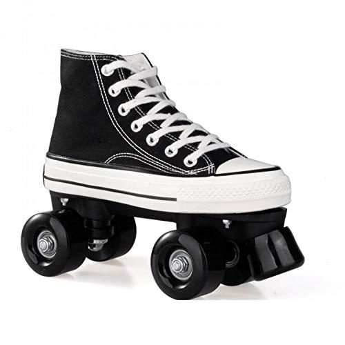 Roller Skates for Women Sneaker Roller Skates Saftey Roller Derby Skates for Women with Four Piles (Blacke Without Light,7)