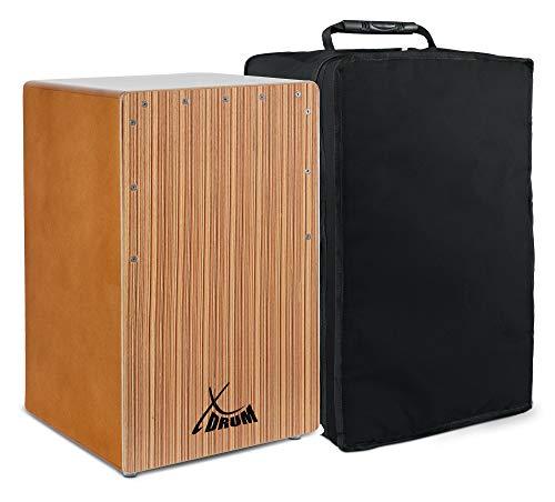 XDrum Cajon El Bajo Bass Port Walnut/Zebrano - Integrierter Bass Port für druckvollen Sound - Trommelkiste für Percussion - Kistentrommel aus Holz - Inkl. Tragetasche