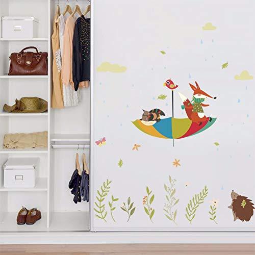 Cartoon Fox Paraplu Vliegende De Hemel Muurstickers voor Kids Kamer Kwekerij Muurdecoratie Waterdichte Vinyl Art Decals Dieren muurschildering