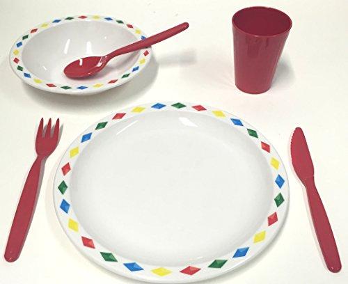 Harfield Juego de vajilla de plástico de policarbonato para niños, plato, tazón, vaso y cubertería (rojo)