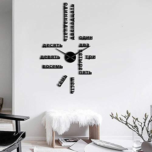 RRBOI Numéros de Langue sans Cadre Bricolage Grande Horloge Murale Langues étrangères Wall Art Room Decor Temps Horloge Cadeau pour Professeur étranger 37inch (Noir)