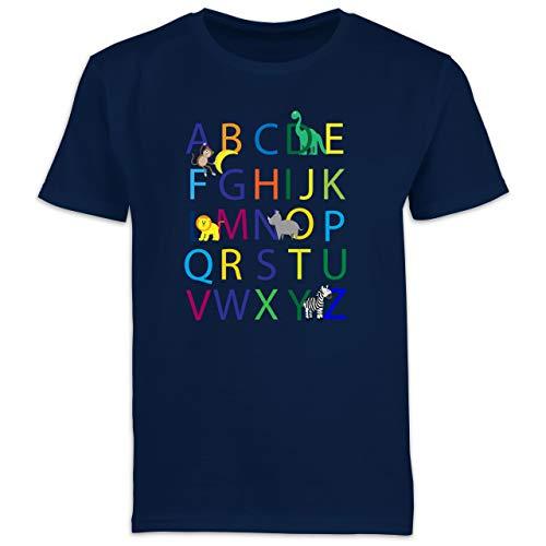 Einschulung und Schulanfang - ABC Einschulung - 128 (7/8 Jahre) - Navy Blau - t-Shirt ABC - F130K Schulanfang - Schulanfang Jungen T-Shirt Kinder