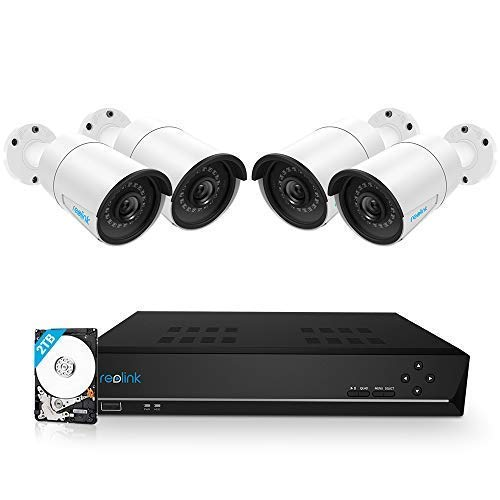 Reolink 8CH PoE Home Security Camera System with 4 Outdoor 5MP Surveillance IP Cameras and 5MP NVR 2TB HDD Super HD 2560x1920 100ft Night Vision RLK8-410B4-5MP