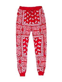 Unisex Fashion Man and Woman National Style Skateboard Loose Hip Hop Swag Bandana Jogger Pants Red XL