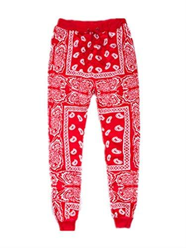 Unisex Fashion Man and Woman National Style Skateboard Loose Hip Hop Swag Bandana Jogger Pants Red M