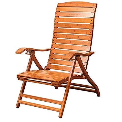 FACAZ Sillas de jardín sillones reclinables Tumbona Plegable, sillas reclinables para Patio Sillón Ajustable con Respaldo Alto Silla de Descanso para Ancianos con Soporte para piernas Alargado
