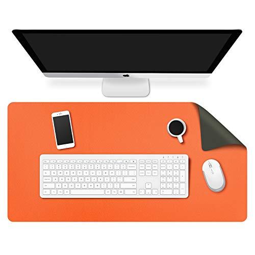 MoKo Tappetino da Scrivania, 80 x 40 x 0.2 cm Tappetino da Scrivania in Impermeabile Semipelle Ultra Sottile Antiscivolo per Computer Mouse Ufficio Casa - Doppia Lato Verde Scuro + Arancione