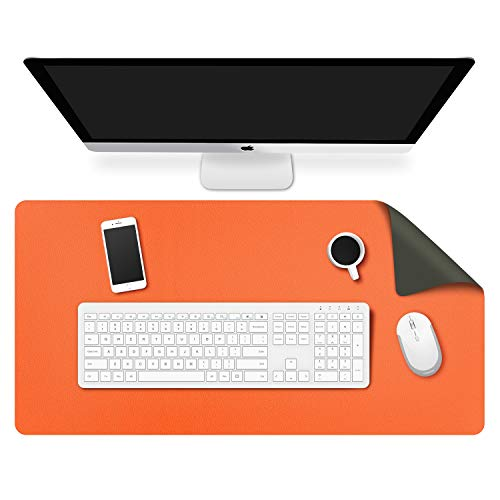 MoKo Computer Desk Mat - PU Large Extended Gaming Mouse Pad, Non-Slip Keyboard Mouse Mat, Waterproof Office Writing Desk Pad Protector, 31.5 x 15.7 x 0.08 Inch - Double Side Army Green/Orange