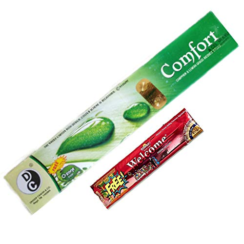 Flourish Comfort Mosquito Repellent Incense Sticks ( 1 box = 120 sticks) by Dhoop Chaon and Co. and 1 pouch Shubhdeep chandan pooja agarbatti free