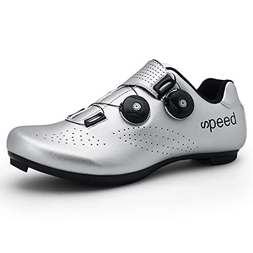 LIXIYU Zapatillas de Ciclismo para Hombres y Mujeres, Zapatillas de Ciclismo de Carretera, Zapatillas de Peloton, Zapatillas Transpirables compatibles con SPD, Zapatillas,Silver-45(UK10)