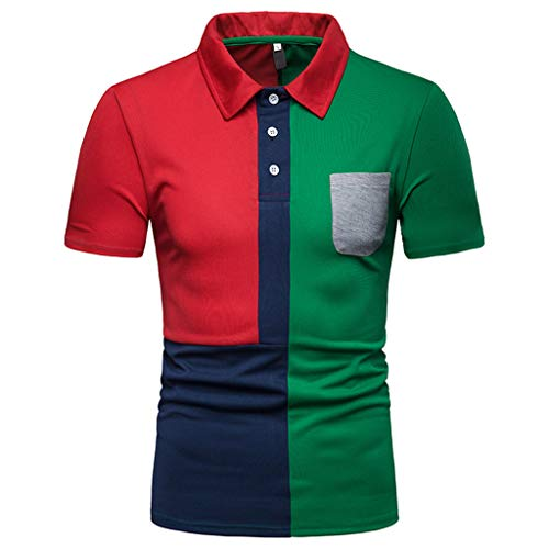 Why Should You Buy Polo Shirt for Men, F_Gotal Men's T-Shirts Fashion Colorblock Summer Short Sleeve Slim Fit Casual Sport Tees Blouse Tops Red