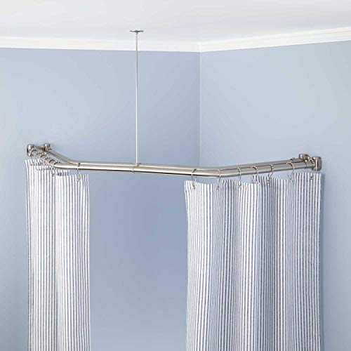 """Naiture Stainless Steel 18-1/2"""" X 26"""" X 18-1/2"""" Double Neo Angle Shower Curtain Rod, Brushed Nickel Finish"""