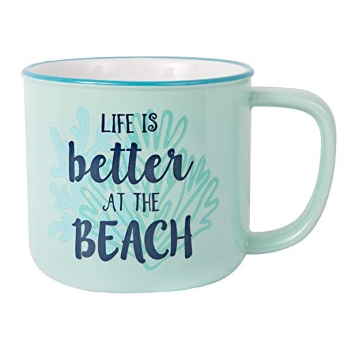 Pavilion Gift Company Large 17 Oz Stoneware Coffee Cup Mug Life Is Better At The Beach, Blue