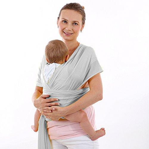 CETTICII Echarpe de portage bébé, porte bébé en coton très léger pour un meilleur confort, porter votre nouveau né près de vous. Avec notice explicative et sac de rangement. (gris)