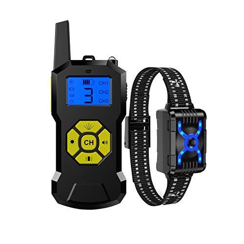 CENT Collar de Adiestramiento para Perros Interruptor Tactil Controlador de Ladridos de Mascotas Impermeable Pantalla Digital Receptor Recargable con Control a Distancia 800 Metros Vibración Sonido