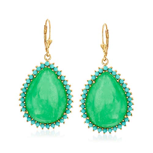 Ross-Simons Jade and Simulated Turquoise Drop Earrings in 14kt Gold Over Sterling