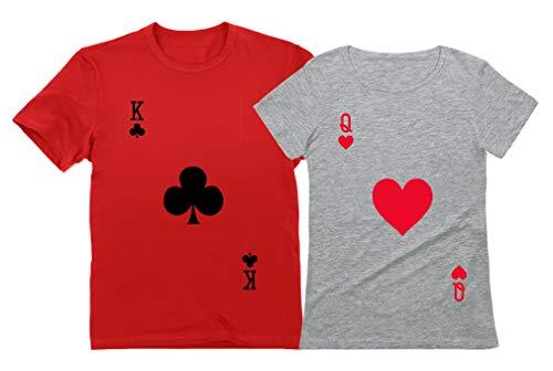 Conjunto de camiseta para casal King & Queen combinando para ele e ela - Dia dos Namorados, King Red/Queen Gray, King XXXX-Large / Queen Small