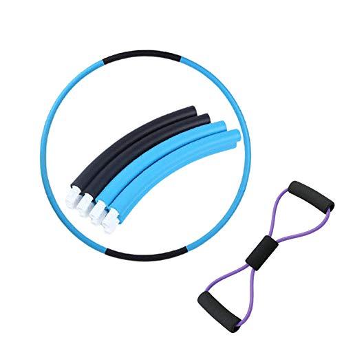 Hula Hoop Fitness Hula Hoop Niña Perder Peso Acolchado de Espuma Hula Hoop para Adelgazar de 6-8 segmentos y Bandas de Resistenci-Azul_7 Sección