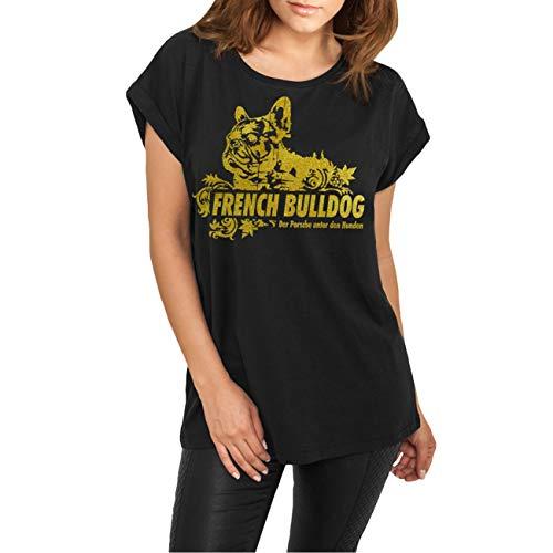 Frauen und Damen T-Shirt French Bulldog Gold Größe XS - 3XL
