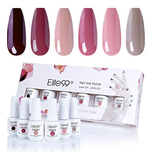 Elite99 Rot Serie UV LED Nagellack Set 8ml, 6 Farbe Red Serie Gel Nail Art Gel Geschenk Kit, Lack UV Gelnägel Set004