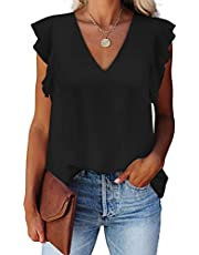 Alice CO Women's Summer V Neck Cap Sleeve Chiffon Casual Flowy Blouse Shirts …