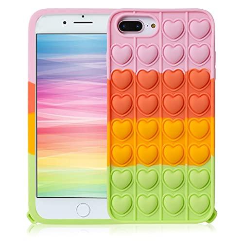 STSNano Pink Heart Cover Custodia Silicone Fidget per iPhone 6 Plus/6S Plus/7 Plus/8 Plus 5.5' per Bambini Ragazze Ragazzi Casi Carattere Fun Carino Fantastico Cool Unico per iPhone 6/6S/7/8 Plus